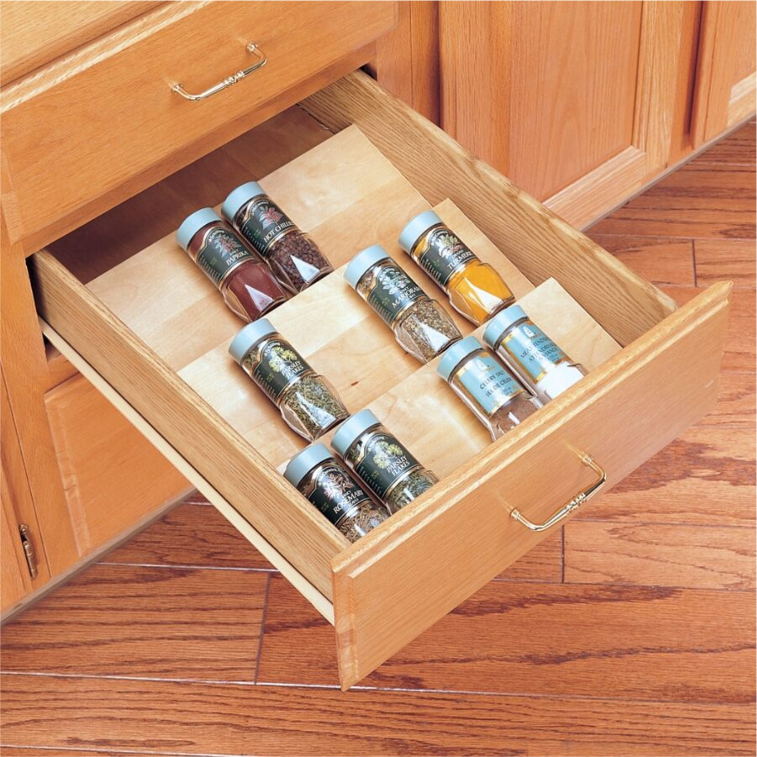 Cut To Size Insert Wood Spice Organizer For Drawers