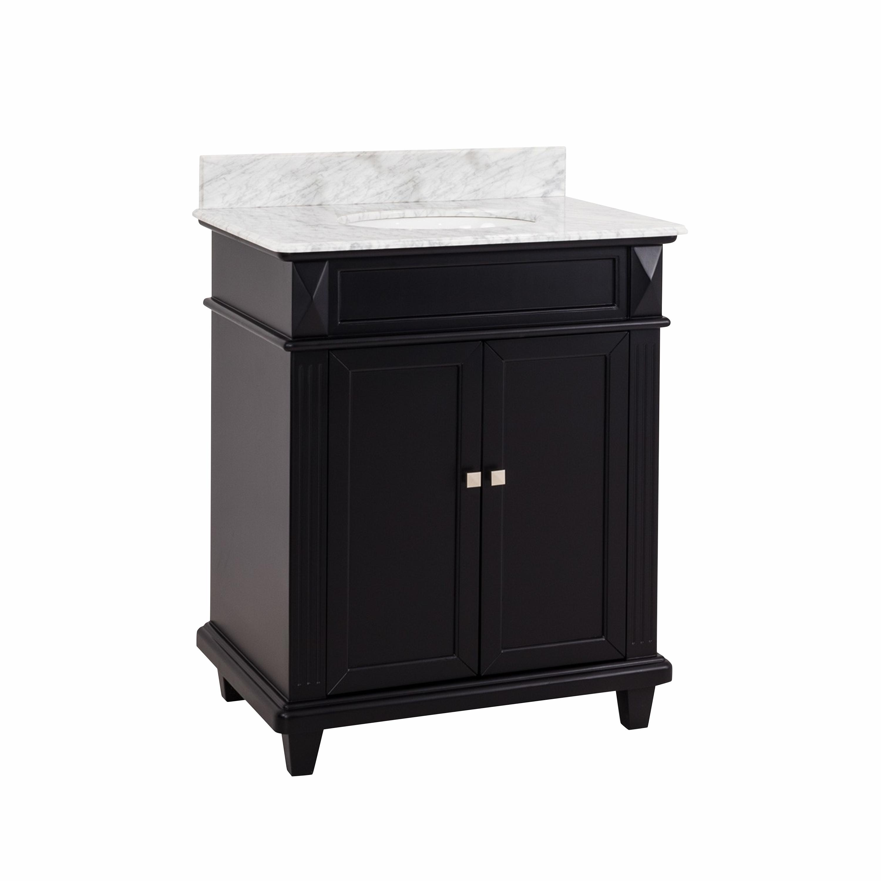 Elements Douglas Black 30 Bathroom Vanity Cabinet With White Marble Countertop And Sink Bowl