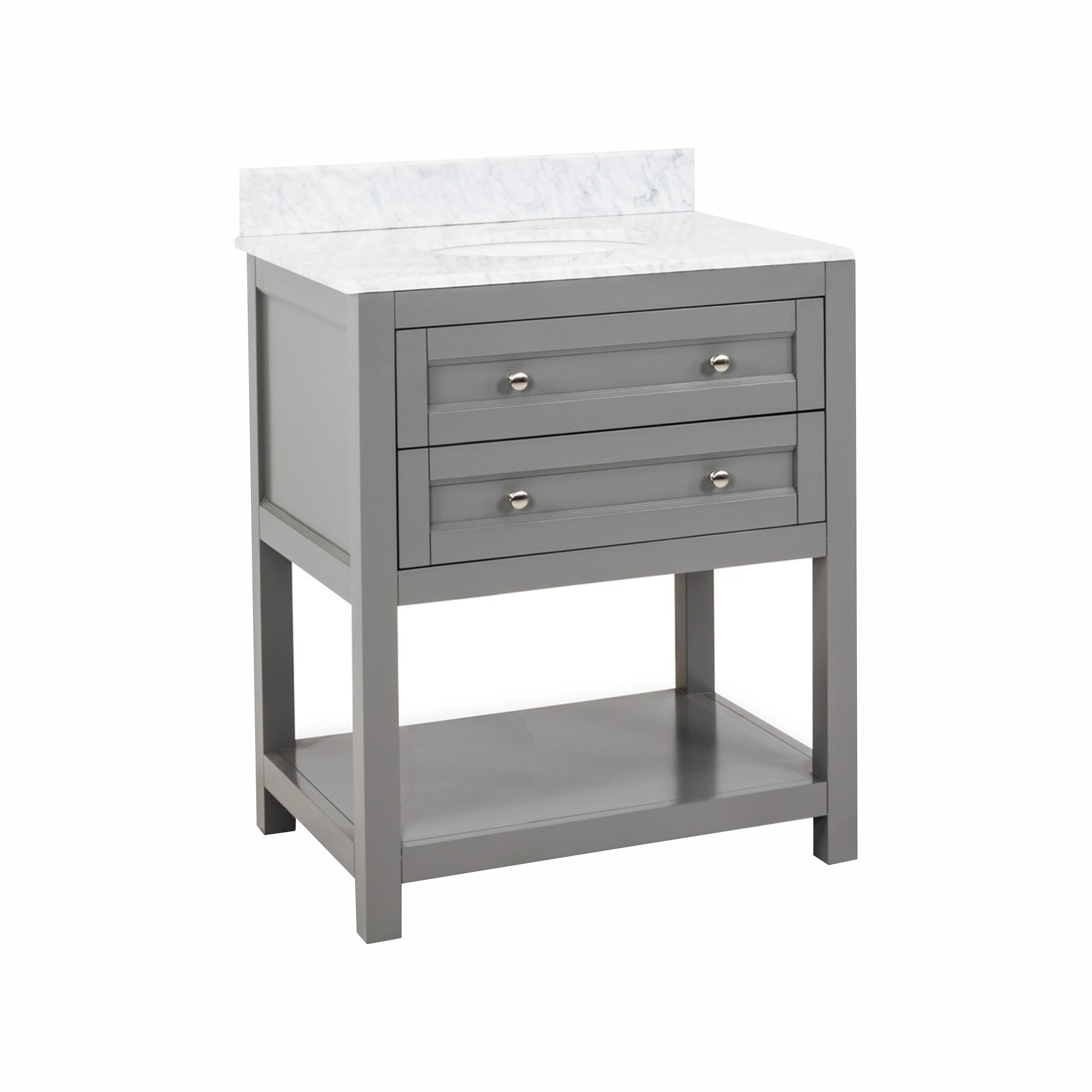 Jeffrey Alexander Astoria Modern Grey 30 Bathroom Vanity Cabinet With Carrera White Marble Countertop And Sink Bowl