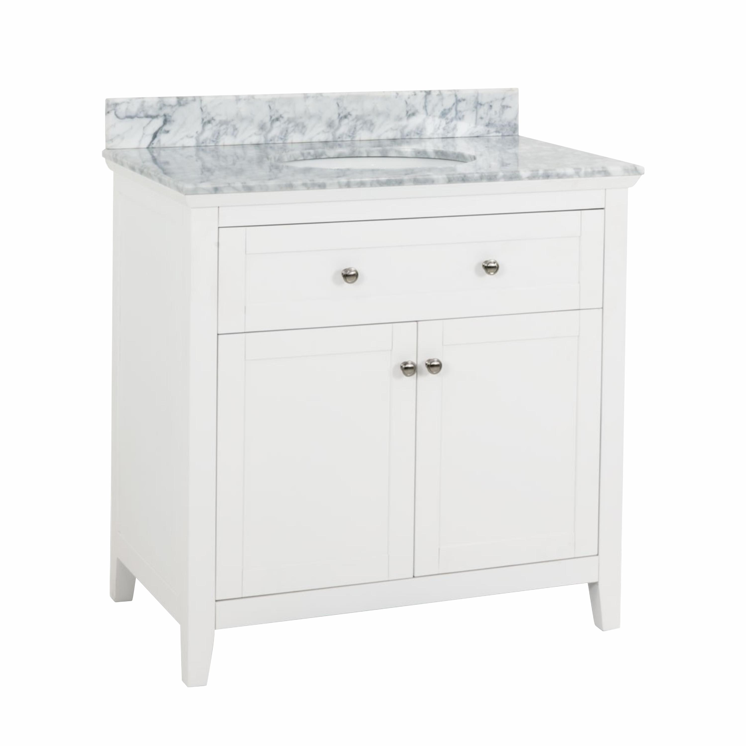 Jeffrey Alexander Chatham Shaker White 36 Bathroom Vanity Cabinet With Carrera Marble Countertop And Sink Bowl